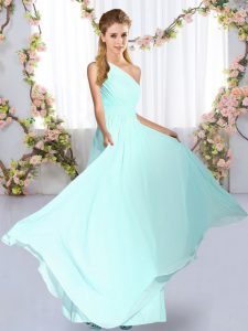 Superior Floor Length Blue Quinceanera Court of Honor Dress Chiffon Sleeveless Ruching