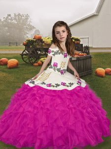 Artistic Sleeveless Lace Up Floor Length Embroidery and Ruffles Pageant Dress for Teens