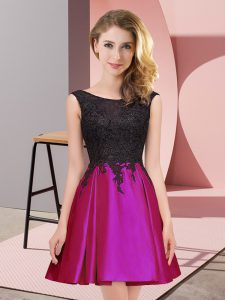 Fuchsia Sleeveless Satin Zipper Damas Dress for Wedding Party
