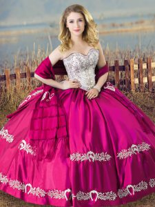 Charming Fuchsia Lace Up Sweet 16 Dress Beading and Embroidery Sleeveless Floor Length
