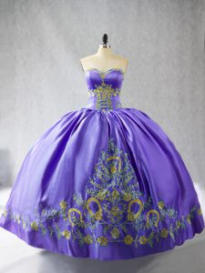 Flare Ball Gowns Sweet 16 Dresses Purple Sweetheart Satin Sleeveless Floor Length Lace Up