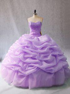 Floor Length Lavender Sweet 16 Dress Organza Sleeveless Beading and Pick Ups