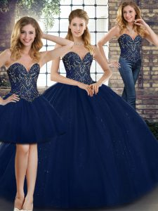 Gorgeous Three Pieces Quinceanera Dress Navy Blue Sweetheart Tulle Sleeveless Floor Length Lace Up
