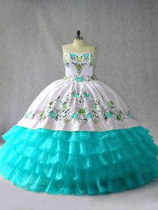 Beautiful Floor Length Blue And White Quinceanera Gowns Organza Sleeveless Embroidery and Ruffled Layers