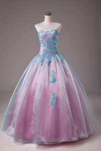 Light Blue Sweetheart Lace Up Appliques Vestidos de Quinceanera Sleeveless