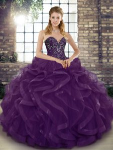 Customized Ball Gowns 15th Birthday Dress Dark Purple Sweetheart Tulle Sleeveless Floor Length Lace Up