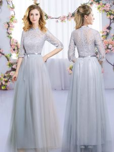 Tulle Half Sleeves Floor Length Quinceanera Court of Honor Dress and Lace and Belt