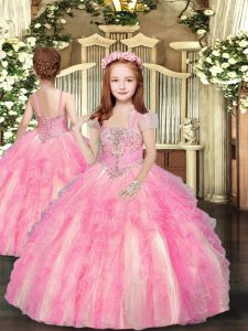 Tulle Straps Sleeveless Lace Up Beading and Ruffles Little Girl Pageant Dress in Baby Pink