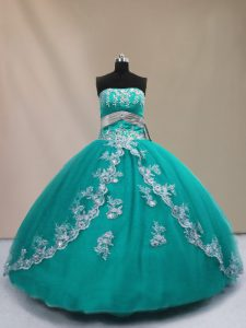Floor Length Lace Up Vestidos de Quinceanera Turquoise for Sweet 16 and Quinceanera with Appliques