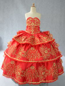 Red Sleeveless Floor Length Embroidery and Ruffled Layers Lace Up Child Pageant Dress