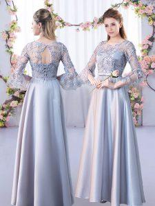 Fine Silver A-line Lace Vestidos de Damas Lace Up Satin 3 4 Length Sleeve Floor Length