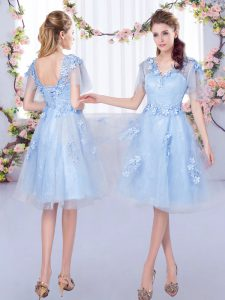 Short Sleeves Tulle Knee Length Lace Up Dama Dress in Light Blue with Appliques