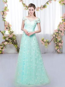 Luxurious Appliques Quinceanera Dama Dress Apple Green Lace Up Cap Sleeves Floor Length