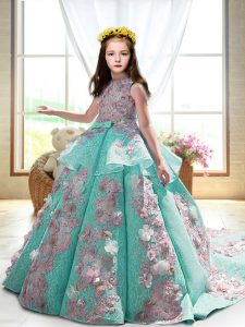 Satin High-neck Sleeveless Court Train Backless Appliques Pageant Dress for Teens in Turquoise