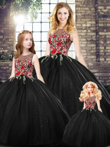Beauteous Black Ball Gowns Scoop Sleeveless Floor Length Zipper Embroidery Quinceanera Gown