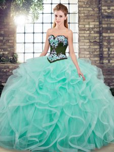 Adorable Aqua Blue Sleeveless Embroidery and Ruffles Lace Up Quinceanera Dresses