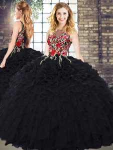 Dynamic Organza Sleeveless Floor Length 15th Birthday Dress and Embroidery and Ruffles