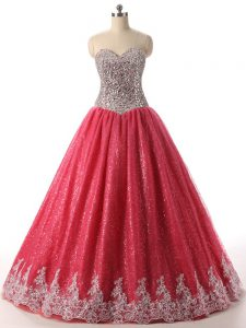 Super Floor Length Ball Gowns Sleeveless Coral Red Quince Ball Gowns Lace Up