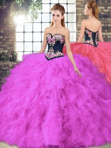 Tulle Sweetheart Sleeveless Lace Up Beading and Embroidery Quince Ball Gowns in Fuchsia