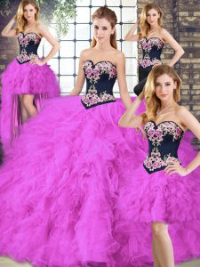 Fuchsia Sleeveless Beading and Embroidery Floor Length Quince Ball Gowns