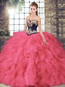 Dynamic Tulle Sleeveless Floor Length Sweet 16 Quinceanera Dress and Beading and Embroidery