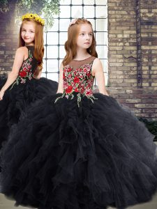 Hot Selling Black Ball Gowns Embroidery and Ruffles High School Pageant Dress Zipper Tulle Sleeveless Floor Length