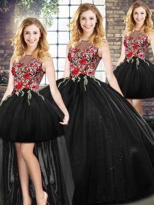 Black Scoop Neckline Embroidery Sweet 16 Dress Sleeveless Zipper