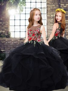 Graceful Black Scoop Neckline Embroidery and Ruffles Glitz Pageant Dress Sleeveless Zipper