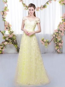 Cap Sleeves Floor Length Appliques Lace Up Quinceanera Court of Honor Dress with Light Yellow