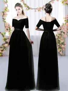 Black Chiffon Lace Up Off The Shoulder Short Sleeves Floor Length Quinceanera Dama Dress Ruching