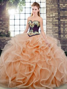 Peach Sleeveless Tulle Sweep Train Lace Up Quinceanera Gown for Sweet 16 and Quinceanera