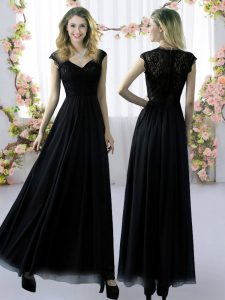 Modest Lace Damas Dress Black Zipper Cap Sleeves Floor Length