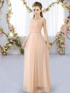 Peach Chiffon Lace Up Damas Dress Sleeveless Floor Length Belt