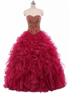 Sumptuous Organza Sweetheart Sleeveless Lace Up Beading and Ruffles Quince Ball Gowns in Wine Red