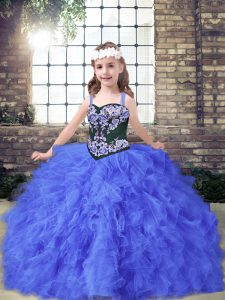 Customized Floor Length Lace Up Pageant Dress Wholesale Blue for Party and Wedding Party with Embroidery and Ruffles