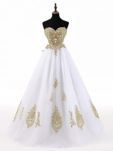 Graceful Tulle Sleeveless Floor Length Sweet 16 Dresses and Beading and Appliques