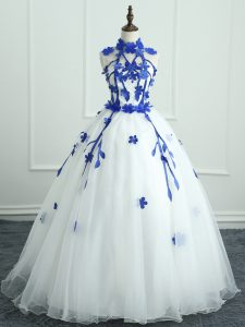 Fashionable Sleeveless Organza Floor Length Zipper Quince Ball Gowns in White with Appliques