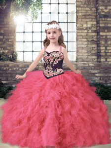 Charming Ball Gowns Pageant Dress Coral Red Straps Tulle Sleeveless Floor Length Lace Up