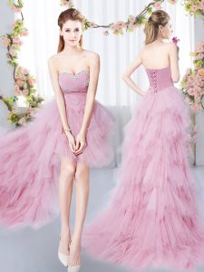 Dynamic Pink Sleeveless High Low Beading and Ruffles Lace Up Quinceanera Dama Dress