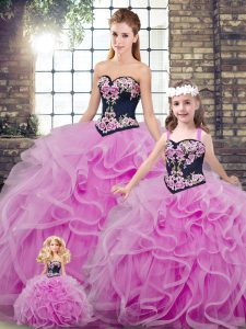 Sleeveless Sweep Train Embroidery and Ruffles Lace Up Vestidos de Quinceanera