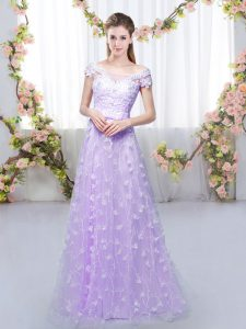 Great Lavender Empire Tulle Off The Shoulder Cap Sleeves Appliques Floor Length Lace Up Court Dresses for Sweet 16