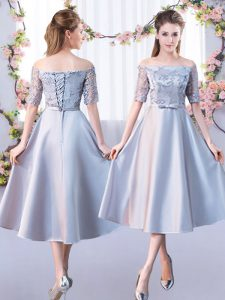 Suitable Half Sleeves Tea Length Lace Lace Up Quinceanera Court of Honor Dress with Silver