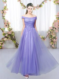 Lace Damas Dress Lavender Lace Up Sleeveless Floor Length