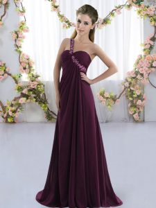 Elegant Empire Sleeveless Dark Purple Quinceanera Court of Honor Dress Brush Train Lace Up
