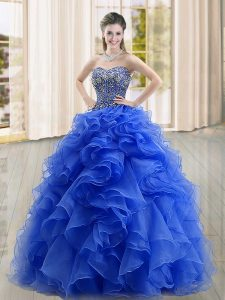 Blue Lace Up Quinceanera Gown Beading and Ruffles Sleeveless Floor Length