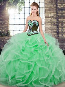 Fashionable Apple Green Lace Up Sweetheart Embroidery and Ruffles Sweet 16 Dress Tulle Sleeveless Sweep Train