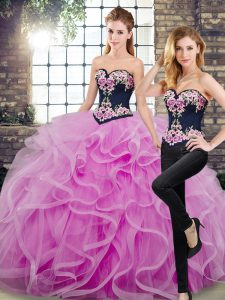 Low Price Sleeveless Floor Length Embroidery and Ruffles Lace Up Vestidos de Quinceanera with Lilac Sweep Train