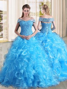 Baby Blue A-line Off The Shoulder Sleeveless Organza Sweep Train Lace Up Beading and Lace and Ruffles 15th Birthday Dress