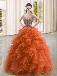 Rust Red Sleeveless Beading and Ruffles Floor Length Quinceanera Gowns