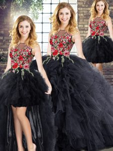 Floor Length Black 15 Quinceanera Dress Scoop Sleeveless Zipper